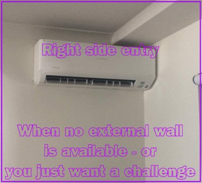 Right side entry air conditioning expert installation examples